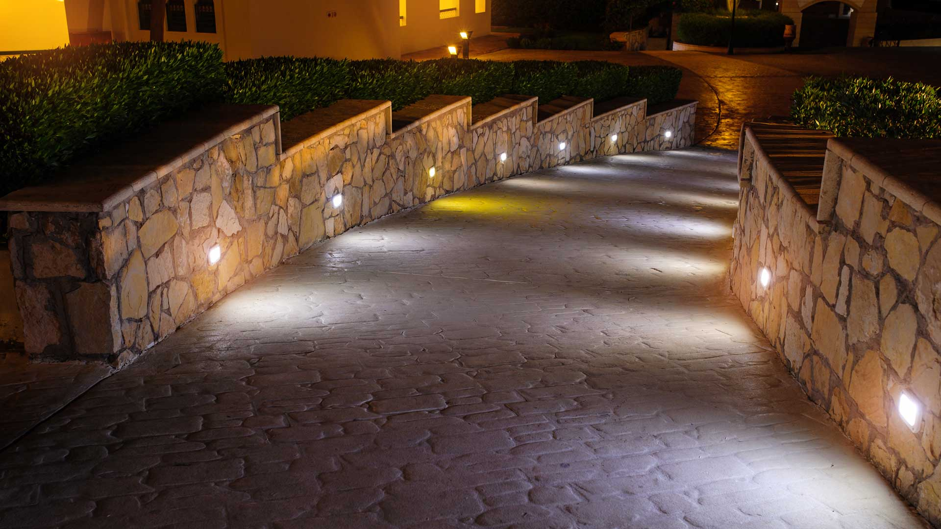 A business in Farragut with walkway and landscape lighting.